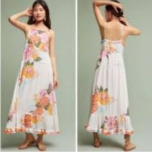 Anthropologie Farm Rio Havanna Pom Pom Maxi Dress